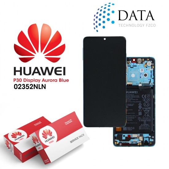 Huawei P30 (ELE-L09 ELE-L29) -LCD Display + Touch Screen + Battery Aurora Blue 02352NLN